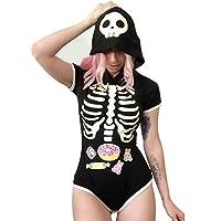 LittleForBig Adult Baby Diaper Lover (ABDL) Button Crotch Adult Baby Onesie Bodysuit - Sweet Reaper Night-Glow Onesie XXXXL