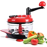 KITCHY HOT Sale Multifunction Food Processor Kitchen Manual Food Vegetables Chopper Cutter Mixer Salad Maker Eggs Stirrer Kitchen Coo: Red Black