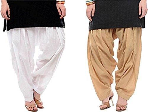 I Shop Traditional Patiala Salwar 100% Cotton Free Size COMBO-02(BEIGE_WHITE)