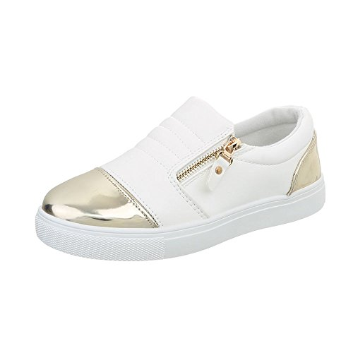Ital-Design, Sneaker donna, Bianco (avorio), 39 EU
