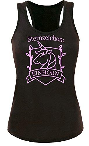 Sternzeichen Einhorn - Damen Tanktop Schwarz/Rosa