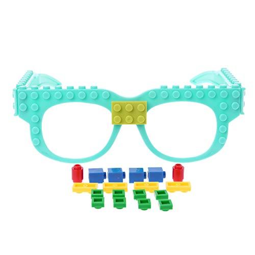 FXCO New Glasses Blocks Baseplate DIY Toy Glasses Rahmen kompatibel mit Legoed, blau