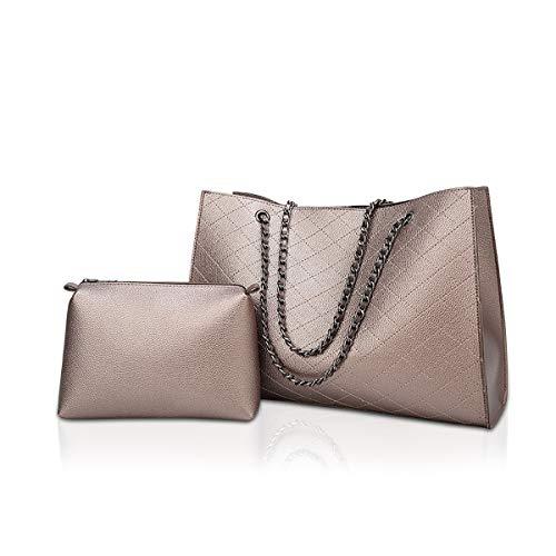 NICOLE & DORIS Handtaschen Damen groß Schulterbeutel Mode Frauen Taschen 2 Stück Damen Henkeltaschen Einkaufstasche Mode Kette Tasche Gold - Nicole 2 Stück