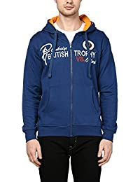 Griffel Latest New Designer Stylish Cotton Fleece Sweatshirt/Pullover Full Sleeve With Zipper For Men/Boys (Blue)