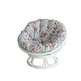 XLOO Chaise Soucoupe avec Cadre en rotin Naturel, Fauteuil-lit, Fauteuil de Jeu, Coussin de Chaise rembourré, Chaise…