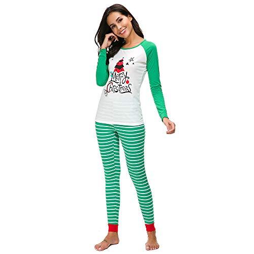 (SuperSU Frauen Weihnachten Schlafanzug Outfit Pajama Langarm Nachtwäsche Print Sleepwear Top Hose Set Weihnachten Pyjama PJs Langarm T-Shirt Hosen Nachtwäsche Set Schlafanzug Hausanzug)