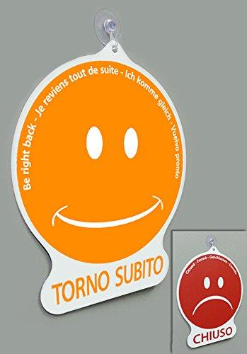 Cartel Torno Subito/Cerrado Emoticon para tienda Vitrina Studio Laboratorio Taller