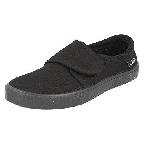 Clarks Hopper Run Boys School Shoe in Black Fabric Black Fabric -
