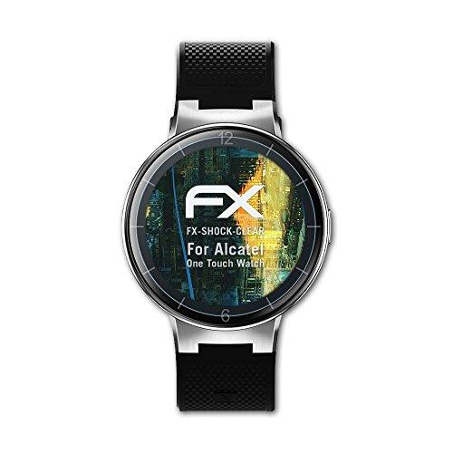 atFoliX Schutzfolie kompatibel mit Alcatel One Touch Watch Panzerfolie, ultraklare & stoßdämpfende FX Folie (3X)