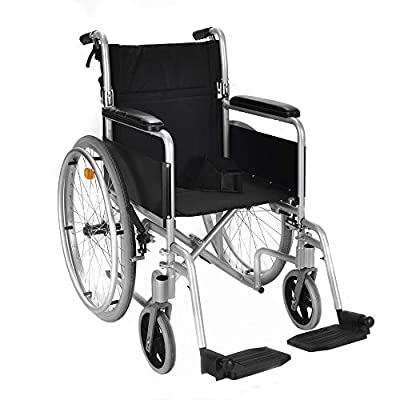 Lightweight self propelled folding wheelchair with brakes and lapbelt ECSP04