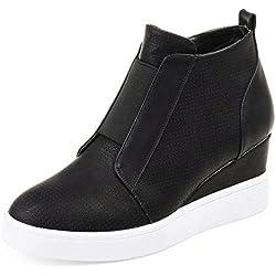 Zapatillas Deportivas de Mujer Sneakers Cuña Botines Casual Plataforma Piel 4.5cm Tacon Medio Invierno Ancho Ankle Boots Beige Azul Rosa 34-43 BK38