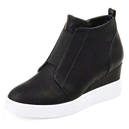 Hafiot Plateau Sneaker Damen Wedges Hohe Keilabsatz High Leder Kurzschaft 4.5cm Chelsea Ankle Boots Reißverschluss Keil Schuhe Beige Rosa Blau Grau 34-43 BK43 -