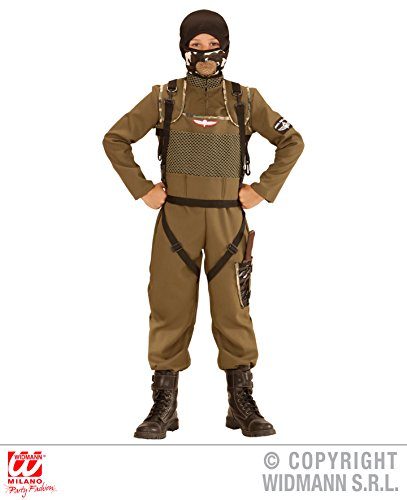Fallschirmjäger Kostüm Kinder (KINDERKOSTÜM - SPECIAL FORCES - Größe 158 cm, Fallschirmjäger Fallschirmspringer Tarnanzug Kampfkleidung Armee)