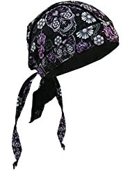 Hot Leathers Authentic Bikers Premium Headwraps, SUGAR SKULL - High Quality Micro-Fiber & Mesh Lining HEADWRAP