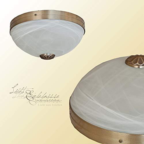 Edle Deckenlampe Alabaster Glas Weiß Ø31cm Jugendstil 2xE27 Deckenleuchte Wohnzimmer Esstisch Küche