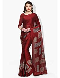 Womanista Crepe Saree with Blouse Piece (FSP0387A_Maroon_Onesize)