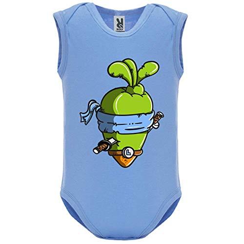 LookMyKase Body bébé - Manche sans - Ninja - Bébé Garçon - Bleu - 6MOIS