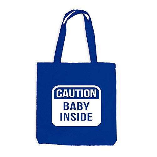 Jutebeutel - Caution Baby Inside - Warnung Schwangerschaft Geburt Kinder Mama Royalblau