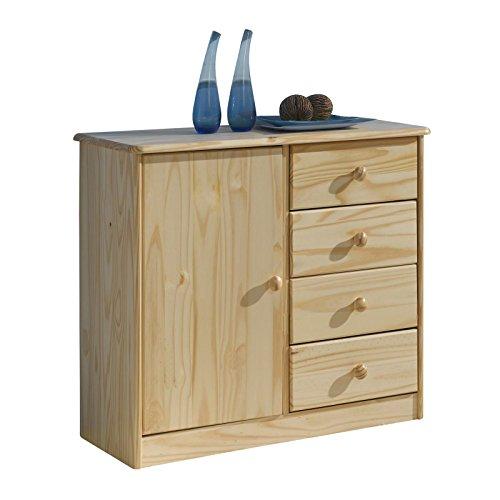 Massive Kiefer Anrichte (Kommode Anrichte Sideboard RONDO, 1 Tür+4 Schubladen, Kiefer massiv, natur lackiert)