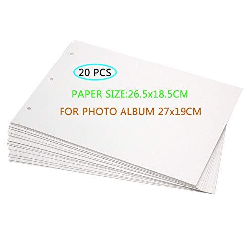 ThxMadam Scrapbooking Papel Blanco 26.5x18.5CM, 20pcs Extra de Recarga páginas de Fotos Libro en Blanco de Papel Bricolaje Recortes álbum de Fotos 27x19CM,para álbum 'Love You Forever' 'Director A'