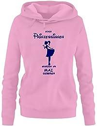 Echte Prinzessinnen wurden im Mai geboren ! Damen - Mädchen Geburtstag HOODIE Sweatshirt mit Kapuze Gr. S M L XL Prinzessin Birthday Party Feiern