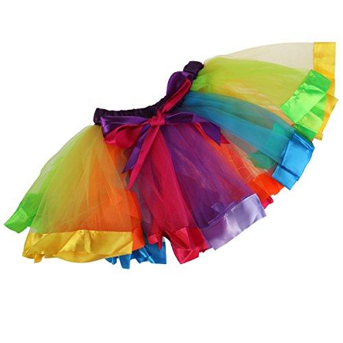 OULII Regenbogen Tutu Rock Mädchen Kinder Geschichteten Rainbow Regenbogen Tutu Ballettrock Tanzkleid Ballettkleid Ballettröckchen Rock - Größe (Mädchen Tutus)