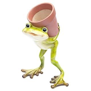 Deko Frosch mit Topf, Pflanztopf Dekofigur Frosch, Froschfigur, Übertopf