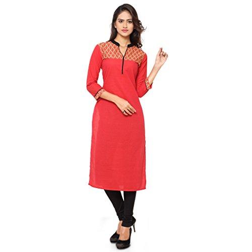 KVSFAB Women's Cotton printed stitched kurti(Red colour_KVSKR01FUSION)[KVSKR01FUSION_XXL]