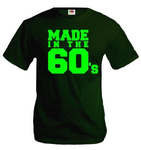 buXsbaum® T-Shirt Made in the 60s Bottlegreen-Neongreen