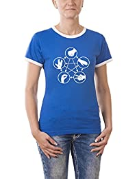 Touchlines Women's Girly Ringer T-Shirt The Big Bang Theory Rock Paper Scissors Lizard Spock