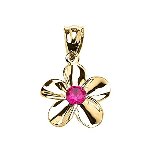 10 ct Yellow Gold Hawaiian Plumeria Red CZ Elegant Pendant Necklace (Comes With an 18