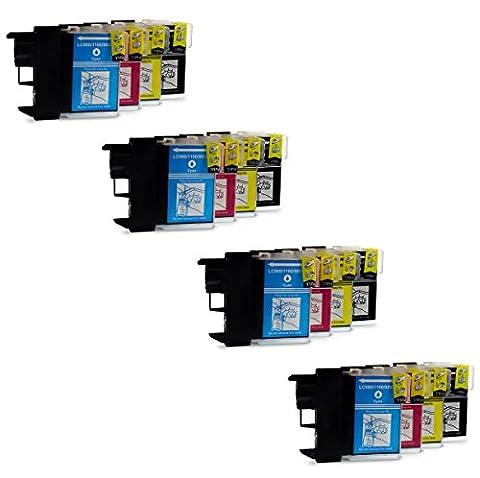 Prestige Cartridge LC1100/LC985 Pack de 16 XL Cartouches d'encre compatible avec Imprimante Brother MFC/DCP Séries, Noir/Cyan/Magenta/Jaune