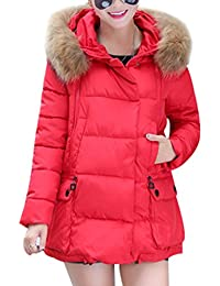 Yasong Women Girls Faux Fur Hooded Quilted Padded Parka Puffer Jacket Winter Overcoat Outerwear