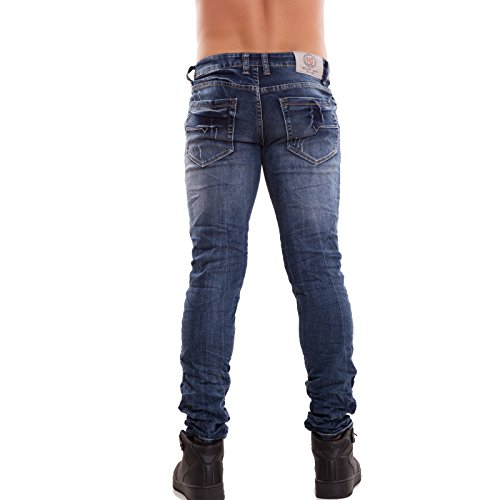 Toocool Herren Skinny Jeanshose Blau