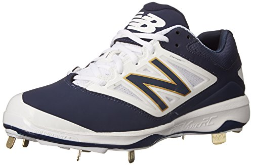 New Balance Men's L4040V3 Cleat Baseball Shoe, Navy/White, 16 D US