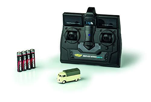 CARSON 500504117 - 1:87 VW T1 Bus Pritsche 2.4G 100{6f9fcb86546b58c4ca7cd901016e65d3b6978c449a3b2af2fb6c25677eaf6341} RTR, Fahrfertiges Modell, 2.4 GHz Fernsteuerung mit Ladeanschluss, inkl. 4xAAA Senderbatterien, mit LED Beleuchtung, Anleitung
