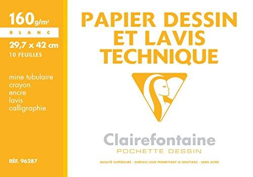 Clairefontaine 96287C Mappe Zeichenpapier (ideal für technische Zeichnungen, DIN A3, 29,7 x 42 cm, 10 Bögen, 160 g) weiß