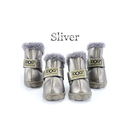 AMURAO 4 Teile/Satz Winter Pet Schuhe Warme Fell wasserdichte Kleine Hunde Stiefel Baumwolle rutschfeste Haustiere Produkt -