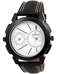 HASHTAG Dual Time Black Case White Dial Analogue Watch For Men