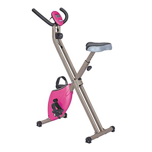 MMSZ Fahrradtrainer Heimtrainer für Zuhause, Pulsmessung Elliptisches Training Geprüft mit Komfortsattel Mehrere Widerstandsstufen für bis zu 120 kg (Wahl mit Vier Farben),Pink