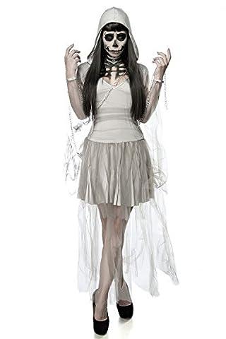 Skeleton Ghost Set - Gruseliges Gespenster Kostüm mit Kette - Halloween Fasching Gr. XS - M (Graue Geist Kostüm)