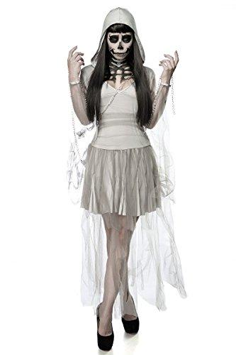 Preisvergleich Produktbild Damen Horror Skelett Geist Kostüm Verkleidung aus Kleid, Kapuze, Kette in grau OneSize XS-M