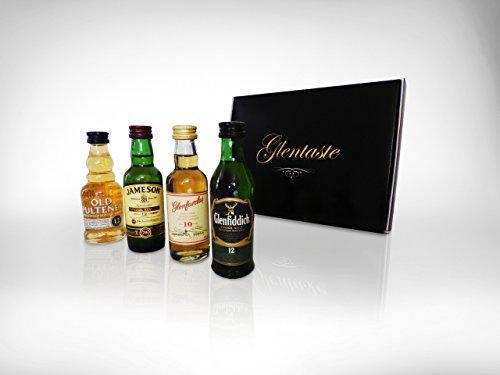 Luxus Whisky Box - Vier preisgekrönte Single Malts - Whisky Geschenkset mit Miniaturen von Glenfiddich, Glenfarclas, Jameson, Old Pultney