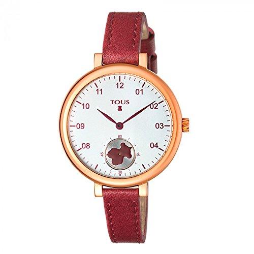 Reloj Tous Spin de acero IP rosado con correa de piel burdeos Ref:600350440