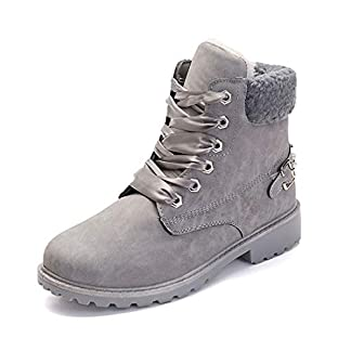 Ankle Boots Women Fur Lined Snow Shoes Ladies Combat Boot Winter Warm Lace Up Outdoor Plat Trainer Bootes Khaki Grey Pink 3-6.5 UK