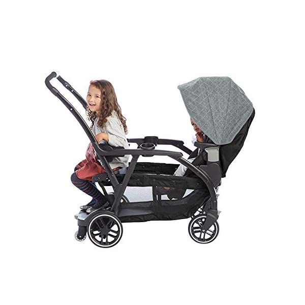 Graco Modes Duo Tandem Pushchair, Shift Graco 27 riding options for 2 children from infant to toddler; click connect attaches with all graco snug ride/essentials infant car seats. suitable from birth to 13kg (approx. 3 years) Two removable, multi-position reclining seats can be positioned rear or forward facing; the built-in bench seat gives your big kid a place to rest; both front and rear seats hold up to 15kgs One-hand standing fold, folds with seats on or off; locking front swivel wheels for superior manoeuvrability; one-step brakes make stopping, and going again, quick and easy 11