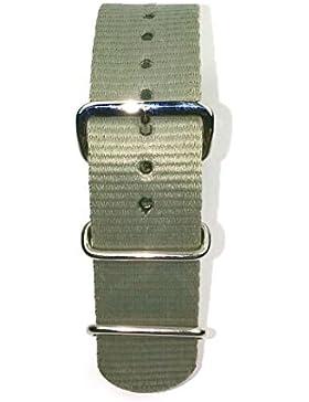 Herzog Outdoor, Nylon Uhrarmband 20mm, grau, Textil, Durchzugsband für Sport & Style mit 3 Metallschlaufen und...