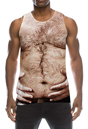 TUONROAD Gym Tank Top Herren Lustig 3D Grafik Drucken Brust Tanktop Khaki Ärmellos Sommer T-Shirts Leicht Muskelshirt Fitness Bodybuilding Tankshirt Lässig Unterhemden Männer Jungen - XL -