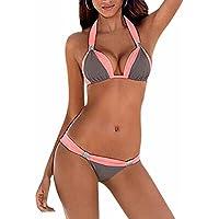 DELEY Donne Colore Blocco Halter Collo Triangolo Brasiliano Sexy Bikini