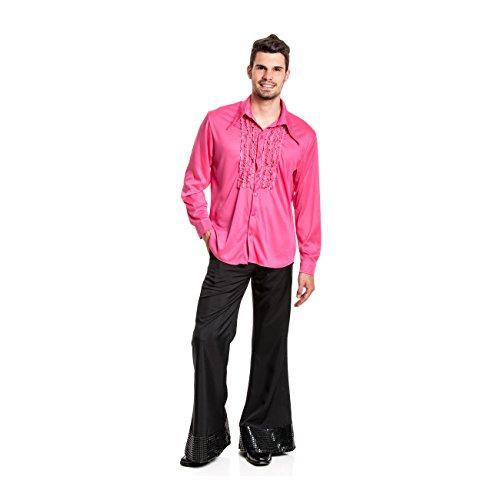 enhemd pink Herren Rüschen-Hemd 70er Jahre Größe 52/54 (80er Jahre Rockstar Kostüm Männer)